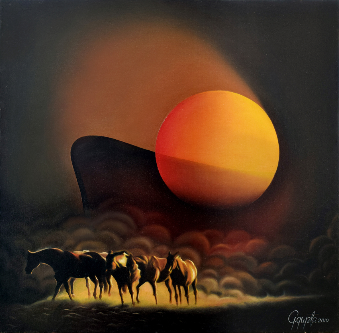 Abstract Oil Painting Of Horse