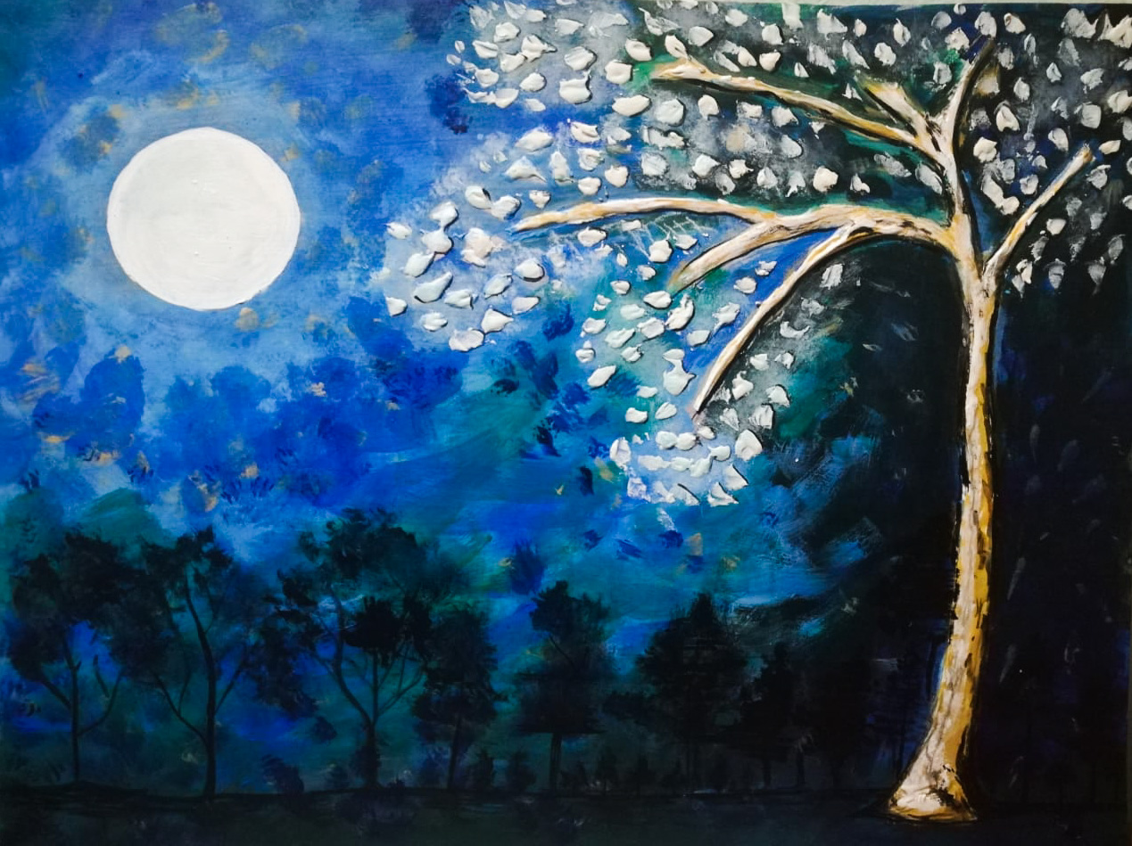 Acrylic Night Painting by Beena Jayant