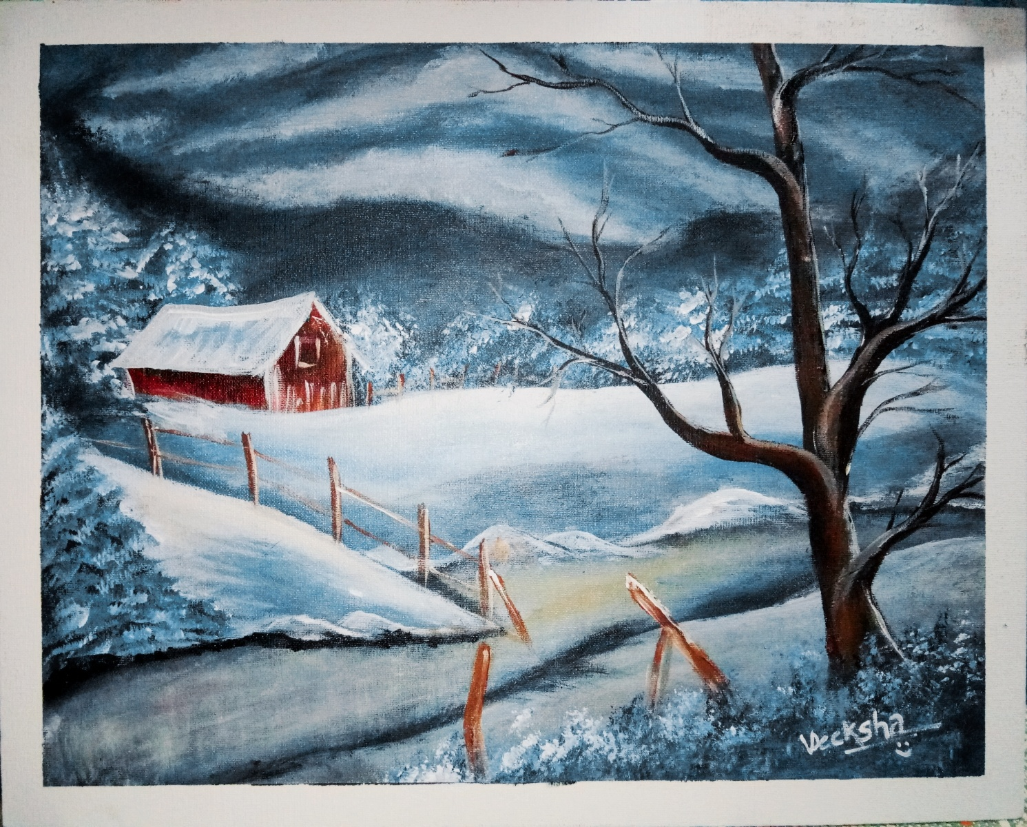 Winter Scene Acrylic Painting