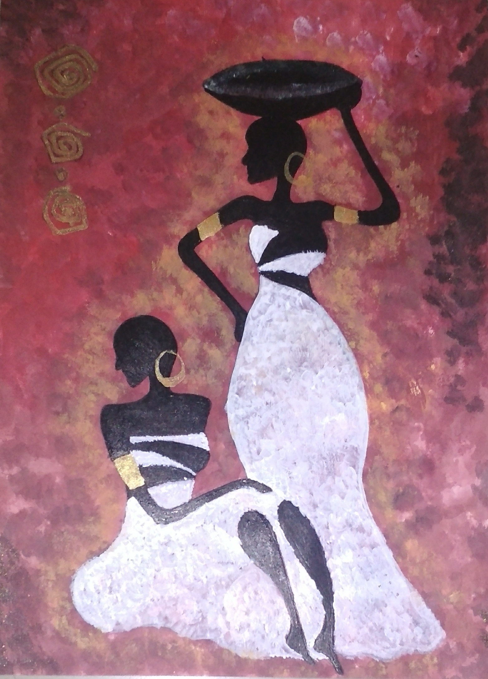 Acrylic Painting Of Tribal Women