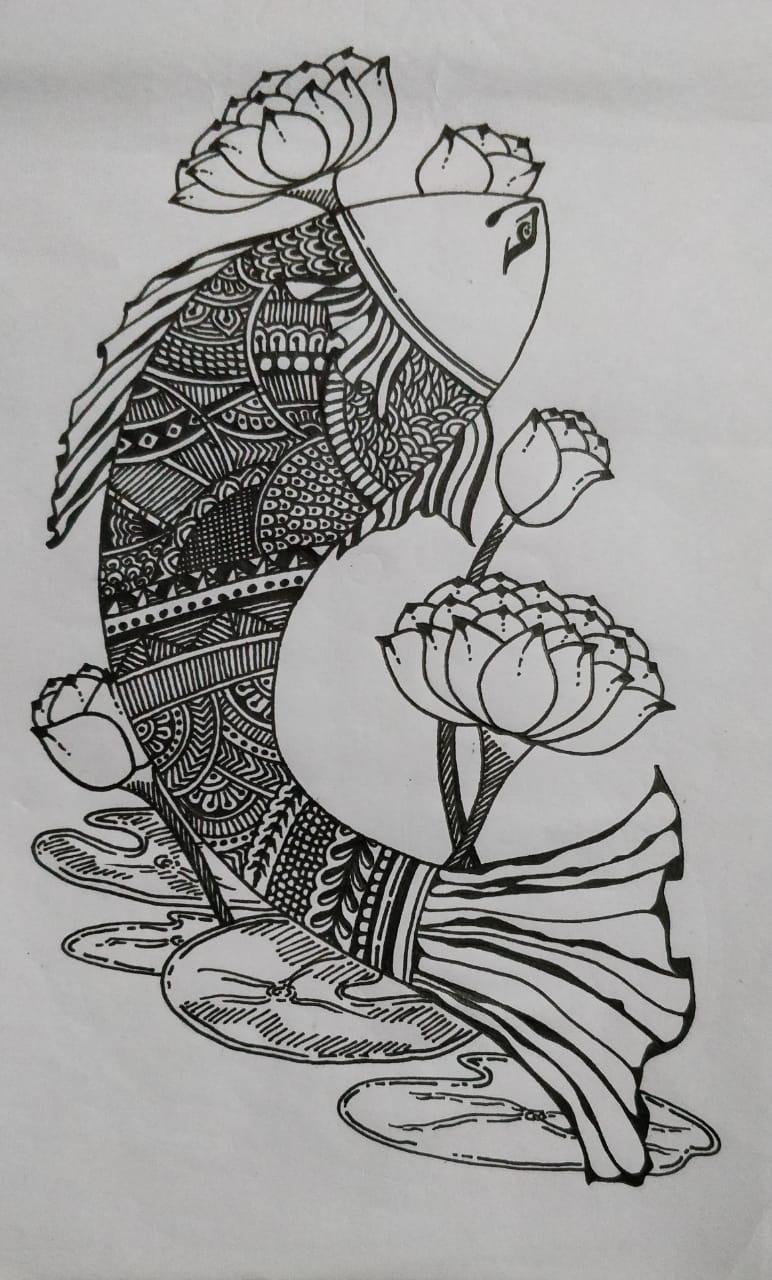 Madhubani Fish Doodle Art