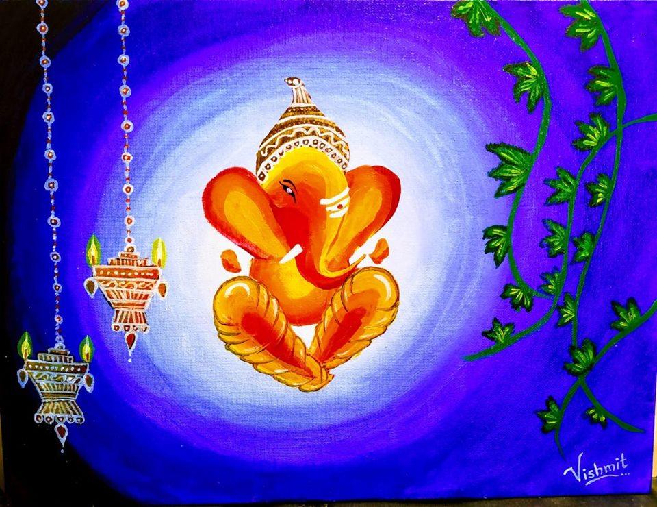 Ganesha Acrylic Canvas Painting