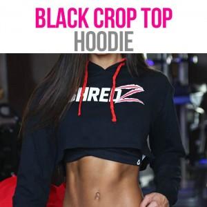 SHREDZ FEMALE CROP HOODIE - BLACK/RED
