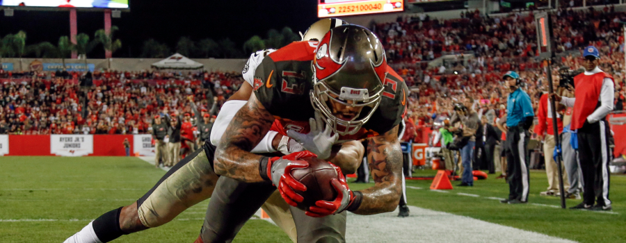 Tampa Bay Buccaneers wide receiver Mike Evans (13) makes the 2 point conversion catch against Tampa Bay Buccaneers free safety Chris Conte (23) during the second half at R