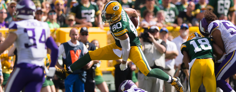 Green Bay Packers tight end Jimmy Graham (80) during the game against the Minnesota Vikings at Lambeau Field.