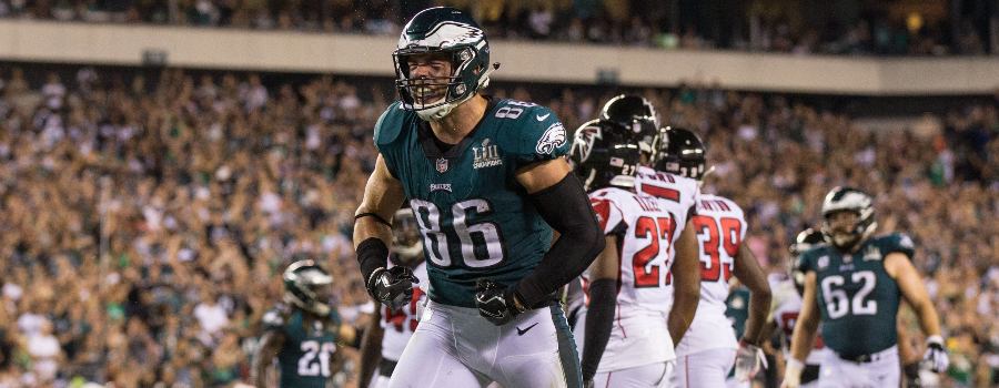 Philadelphia Eagles tight end Zach Ertz (86) reacts against the Atlanta Falcons during the third quarter at Lincoln Financial Field.