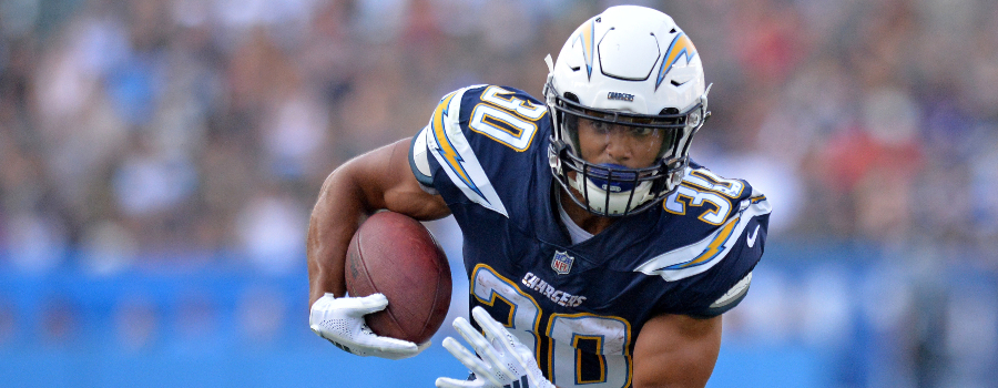 Los Angeles Chargers running back Austin Ekeler (30) runs against the New Orleans Saints at StubHub Center.