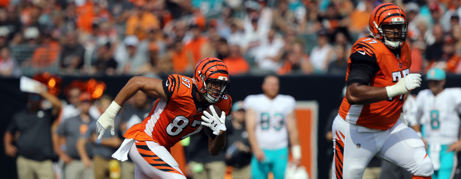 Cincinnati Bengals tight end C.J. Uzomah (87) against the Miami Dolphins at Paul Brown Stadium.