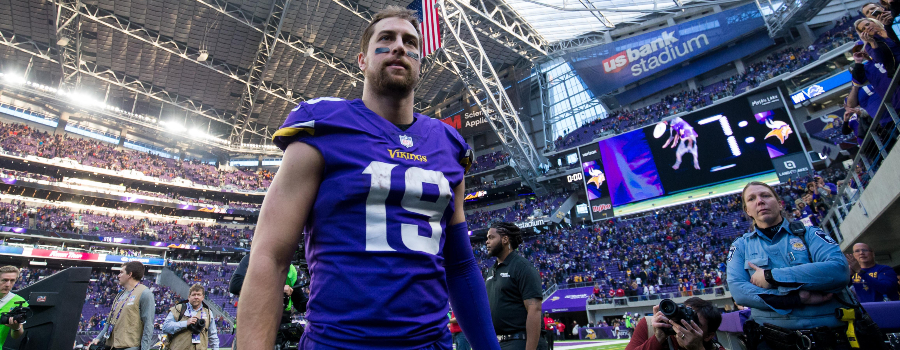 Minnesota Vikings wide receiver Adam Thielen (19) leaves the field after the game against the Chicago Bears at U.S. Bank Stadium.