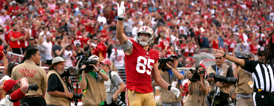 San Francisco 49ers tight end George Kittle (85) reacts after catching a pass for a first down against the Arizona Cardinals in the fourth quarter at Levi's Stadium.