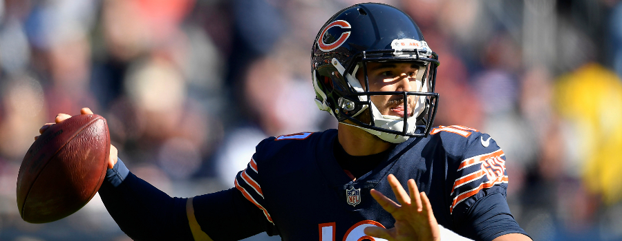 Chicago Bears quarterback Mitchell Trubisky (10) looks to pass the ball against the New England Patriots at Soldier Field.