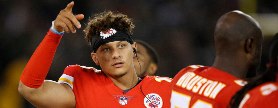 Kansas City Chiefs quarterback Patrick Mahomes (15) reacts after the Chiefs picked up a first down against the Oakland Raiders in the third quarter at Oakland Coliseum. The Raiders defeated the Chiefs 31-30.