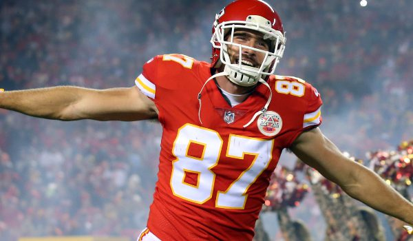 Kansas City Chiefs tight end Travis Kelce (87) takes the field before the game against the Denver Broncos at Arrowhead Stadium.