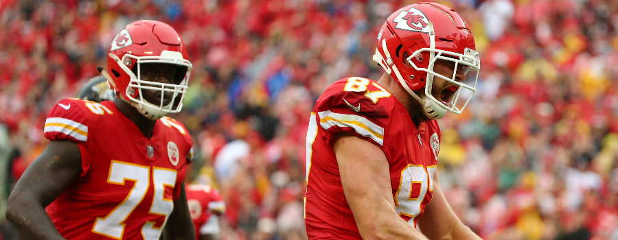 Kansas City Chiefs tight end Travis Kelce (87) celebrates after a play against the Jacksonville Jaguars in the first half at Arrowhead Stadium.