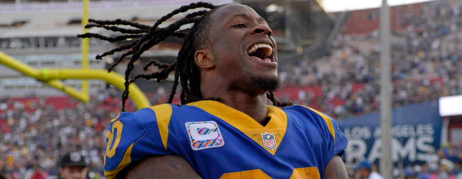 Los Angeles Rams running back Todd Gurley (30) celebrates a 29-27 win over the Green Bay Packers at Los Angeles Memorial Coliseum.
