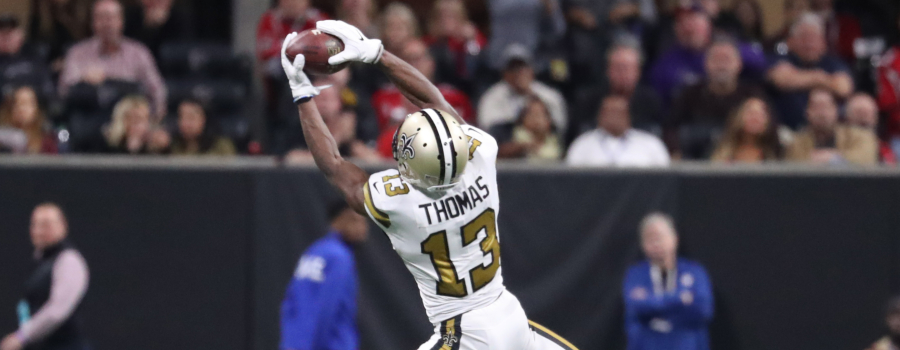 New Orleans Saints wide receiver Michael Thomas (13) makes a catch in the fourth quarter against the Atlanta Falcons at Mercedes-Benz Stadium.