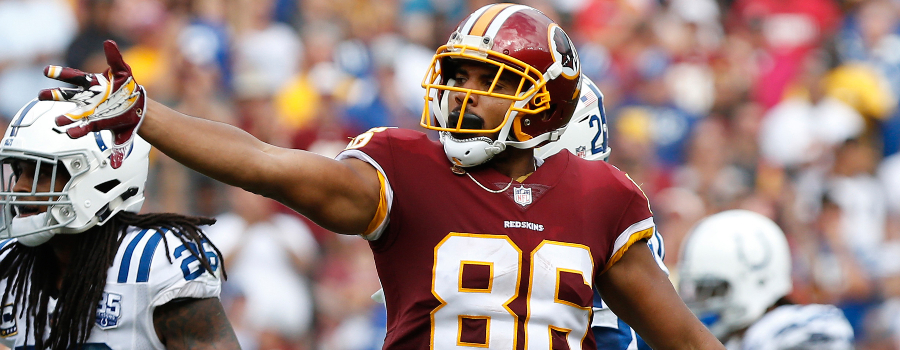 Washington Redskins tight end Jordan Reed (86) gestures against the Indianapolis Colts at FedEx Field.