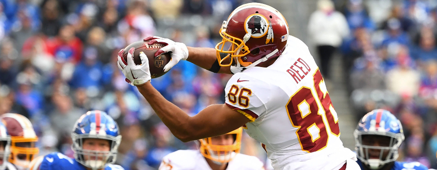 Washington Redskins tight end Jordan Reed (86) with a 3rd quarter reception against the Giants at MetLife Stadium.