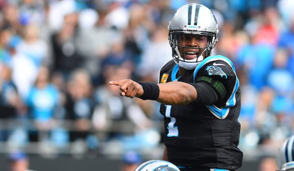 Carolina Panthers quarterback Cam Newton (1) at the line of scrimmage in the first quarter at Bank of America Stadium.