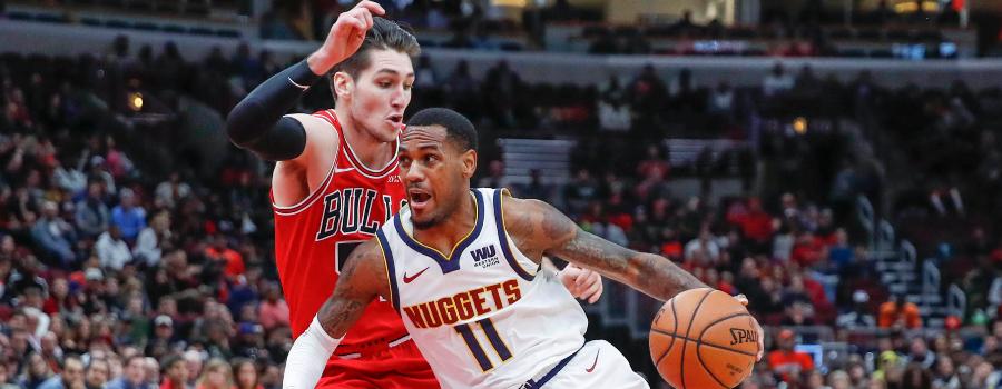 e209d34e7981 Denver Nuggets guard Monte Morris (11) drives to the basket against Chicago  Bulls guard