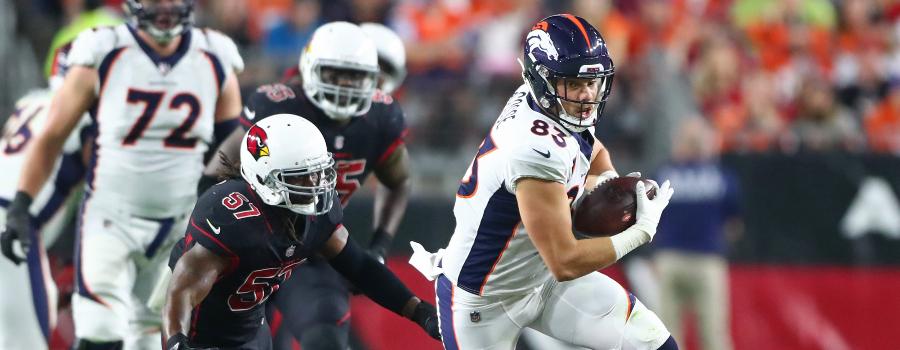 Denver Broncos tight end Matt LaCosse (83) against the Arizona Cardinals at State Farm Stadium.