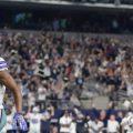 Dallas Cowboys wide receiver Amari Cooper (19) catches the game winning pass in overtime against Philadelphia Eagles cornerback Rasul Douglas (32)at AT&T Stadium.