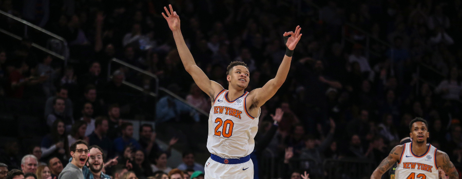 New York Knicks forward Kevin Knox (20) celebrates after scoring in the first quarter against the Atlanta Hawks at Madison Square Garden.