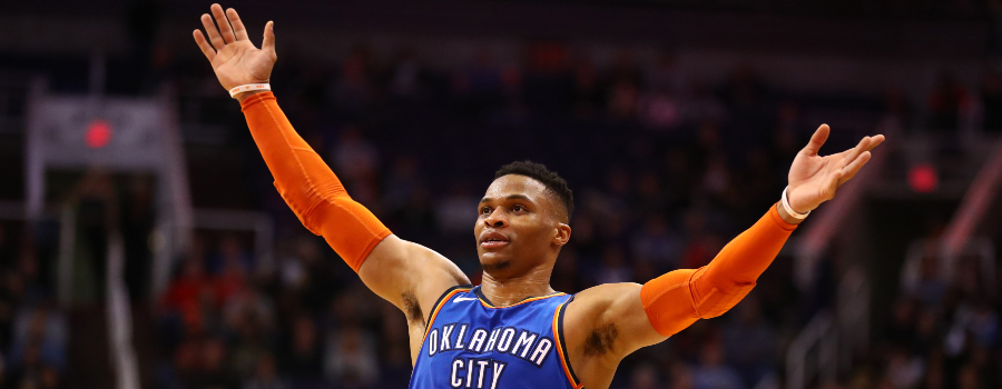 Oklahoma City Thunder guard Russell Westbrook (0) celebrates in the fourth quarter against the Phoenix Suns at Talking Stick Resort Arena.