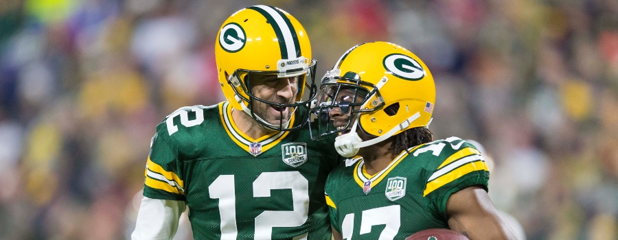 nfl dfs stacking advice-full game stacks-aaron rodgers and davante adams