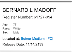 Madoff Prisoner Profile