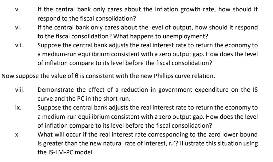 v. If the central bank only cares about the inflation growth rate, how should it respond to the fiscal consolidation? vi. If