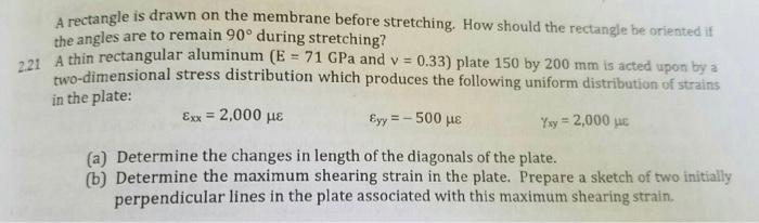 A rectangle is drawn on the membrane before stretching. How should the rectangle be oriented if the angles are to remain 90°