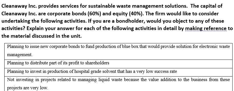 Cleanaway Inc. provides services for sustainable waste management solutions. The capital of Cleanaway Inc. are corporate bond