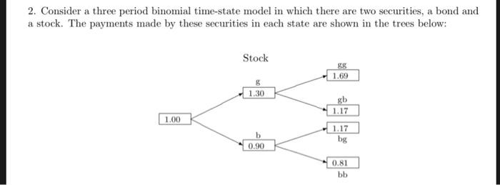2. Consider a three period binomial time-state model in which there are two securities, a bond and a stock. The payments made