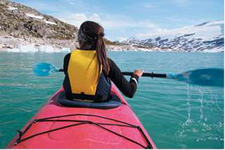 A kayak moves at a rate of 12 mph in