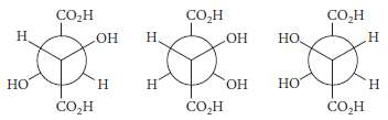 Following are Newman projections for the three tartaric acids (R,R),
