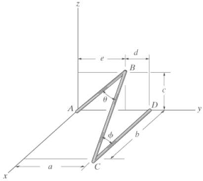 Determine the angles θ and φ between the wire segments