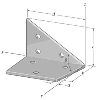 Determine the angle θ between the edges of the sheet-metal