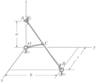 Determine the lengths of cords ACB and CO. The knot at C is