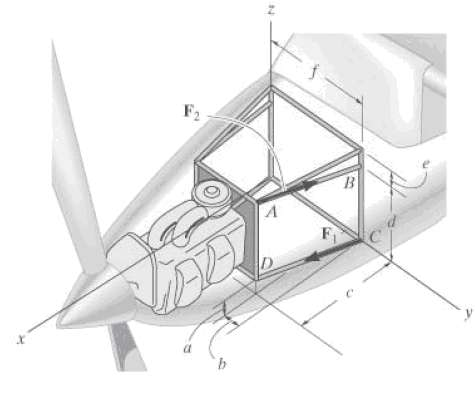 The engine of the lightweight plane is supported by struts