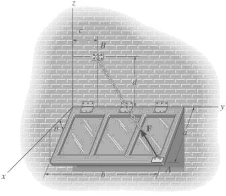The window is held open by cable AB determine the length of the