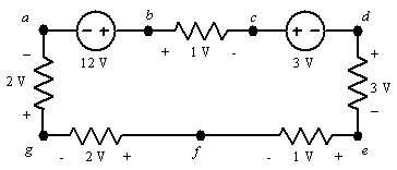 +1 V 12 V 3 V 2 W -2V + -1V e