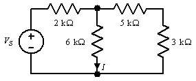 In the circuit shown, I =4mA. .  Find Vs.