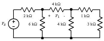 In the network shown, V1 = 12 V.  Find Vs.