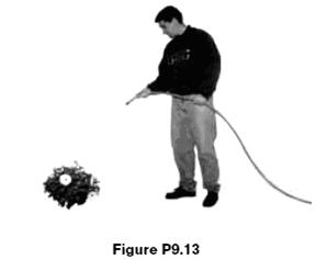 A garden hose is held as shown in Figure P9.13