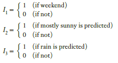 (if wcckend) o (if not) 1 (if mostly sunny is predicted) 0 (if not) 4 = {0 1:-{: 4-{ I, (if rain is predicted) 0 (if not
