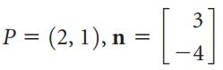3 P = (2, 1), n = -4