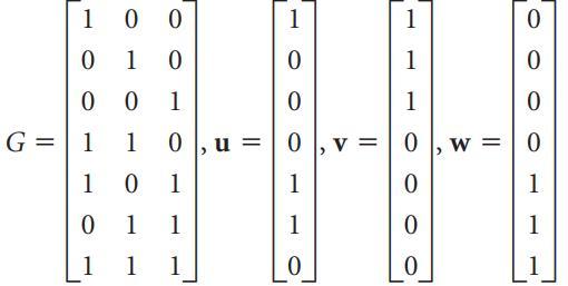G = 0 |, u = | 0 v = | 0