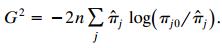 G² = -2n L îî; log(7;0/ î;). îr, log(™j0/ îr;,