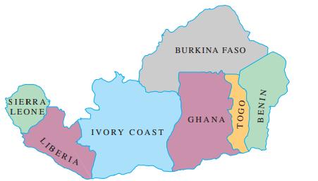 BURKINA FASO SIERRA LEONE GHANA IVORY COAST LIBERIA TÖGO NINI E